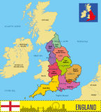 Political map of England with regions and their capitals Royalty Free Stock Photography