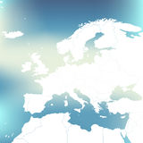 Political Map Of Europe. Abstract blurred background. Vector Illustration. Stock Photography