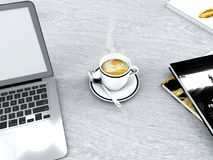 Coffee break, cup of coffee and computer, books, daily break, breakfast and work. Work break, daily break, 3d rendering Royalty Free Stock Image