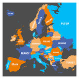 Political map of Europe continent in four colors with white country name labels and  on white background. Vector Royalty Free Stock Photography