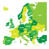 Political map of Europe continent in four shades of green with white country name labels and isolated on white Stock Images