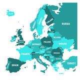 Political map of Europe continent in four shades of turquoise blue with white country name labels and isolated on white Stock Photos