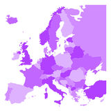 Political map of Europe in four shades of violet on white background. Vector illustration. Political map of Europe in four shades of blue on white background Stock Photos