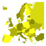 Political map of Europe in four shades of yellow on white background. Vector illustration.  Royalty Free Stock Photo