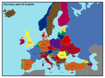 Political Map of Europe Stock Images