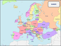 Political Map of Europe with Names Royalty Free Stock Photography