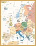 Political Map of Europe Retro Colors Stock Photos