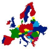 Political map of Europe. On a white background, Vector illustration Stock Photos