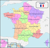 Political Map of France with Names. Illustration of a Political Map of France with Names Stock Photos