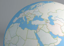 Political map globe of Europe, Middle East and north Africa Stock Image