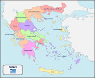 Political Map of Greece with Names. Illustration of a Political Map of Greece with Names stock illustration