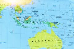 Political Map of Indonesia in Southeast Asia. With Bright Light royalty free stock photo