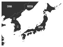 Political map of Korean and Japanese region, South Korea, North Korea and Japan. Map with labeling on white background. Vector illustration Royalty Free Stock Images