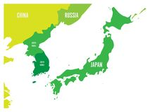 Political map of Korean and Japanese region, South Korea, North Korea and Japan. Green map with white labeling on white. Background. Vector illustration Royalty Free Stock Images