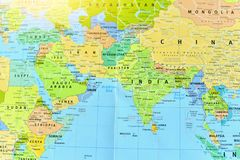 Political Map of Middle East and South Asian Countries. With Bright Light royalty free stock photo