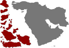 Political map of the Middle east Royalty Free Stock Photo