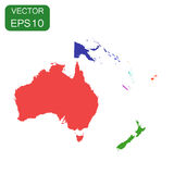 Political Map of Oceania and Autralia icon. Business cartography. Concept Autralia pictogram. Vector illustration on white background Royalty Free Stock Photography