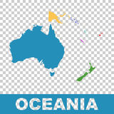 Political Map of Oceania. Flat vector. Illustration Royalty Free Stock Photo