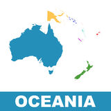 Political Map of Oceania. Flat vector. Pictogram Royalty Free Stock Image