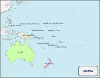 Political Map of Oceania with Names Stock Photo