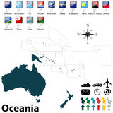 Political map of Oceania. Vector of political map of Oceania set with buttons flags on white background Stock Photography