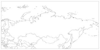 Political map of Russia and surrounding countries. Black thin outline on white background. Vector illustration.  Stock Image