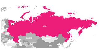 Political map of Russia and surrounding countries. Highlighted by pink. Vector illustration.  Stock Photography