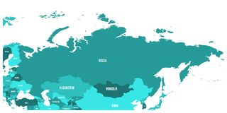 Political map of Russia and surrounding European and Asian countries. Four shades of turquoise blue map with white Stock Image
