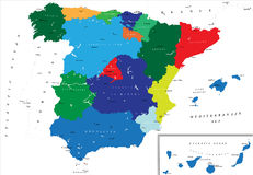 Political map of Spain. Highly detailed map of Spain with all regions separate and the main cities Stock Photo