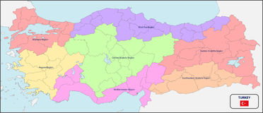 Political Map of Turkey with Names. Illustration of a Political Map of Turkey with Names royalty free illustration