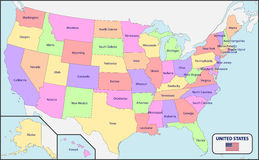 Political Map of USA with Names. Illustration of a Political Map of USA with Names stock illustration