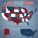 Political Map Of USA Poster Stock Photo