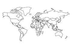 Political map of World. Blank map for school quiz. Simplified black thick outline on white background.  Stock Images