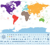 Political map of the world colored by continents with many travel icons and stuff Royalty Free Stock Photo