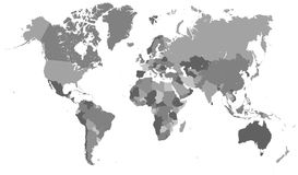 Political map of the world. Detailed gray map of the world. Very large image vector illustration