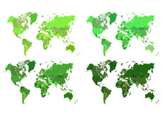 Political map of the world. Detailed green maps of the world. VERY large image. Different shades to suit your design needs royalty free illustration