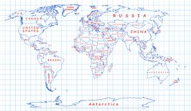 Political map of the world drawn with blue pen Royalty Free Stock Images