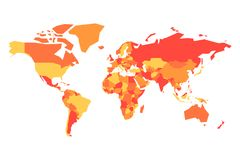 Political map of World. Simplified vector map in four shades of orange royalty free illustration