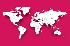 Political map of World. White map with country borders and labels with dropped shadow on pink background. Vector. Illustration vector illustration