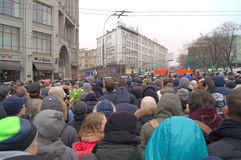 Political meeting dedicated to murder Boris Nemtsov in Moscow Stock Photos