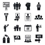 Political meeting icon set, simple style vector illustration