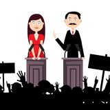 Political Meeting with People. Man and Woman Speaking to Audience. Vector Illustration royalty free illustration