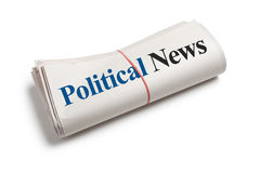 Political News. Newspaper Roll with white background stock photo