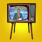 Political news presenter on TV. Comic cartoon pop art retro vector illustration drawing royalty free illustration