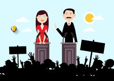 Political Outdoor Meeting with Man and Woman Speakers and Audience. Silhouette royalty free illustration
