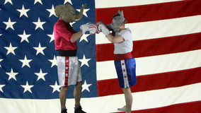 Political parties ready to spar against American Flag stock video