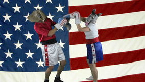 Political parties throwing punches against American Flag. Man in elephant GOP mask and woman in donkey Democrat mask wearing boxing shorts throwing childish stock footage