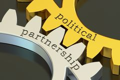 Political partnership concept on the gearwheels, 3D rendering. Political partnership concept on the gearwheels, 3D Stock Images