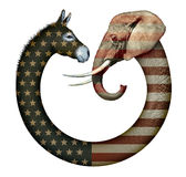 Political Party Animals. Digital and photo illustration of a donkey and elephant, representing democrats and republicans confronting each other Stock Image