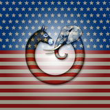 Political Party Animals. Digital and photo illustration of a donkey and elephant, representing democrats and republicans confronting each other Royalty Free Stock Image